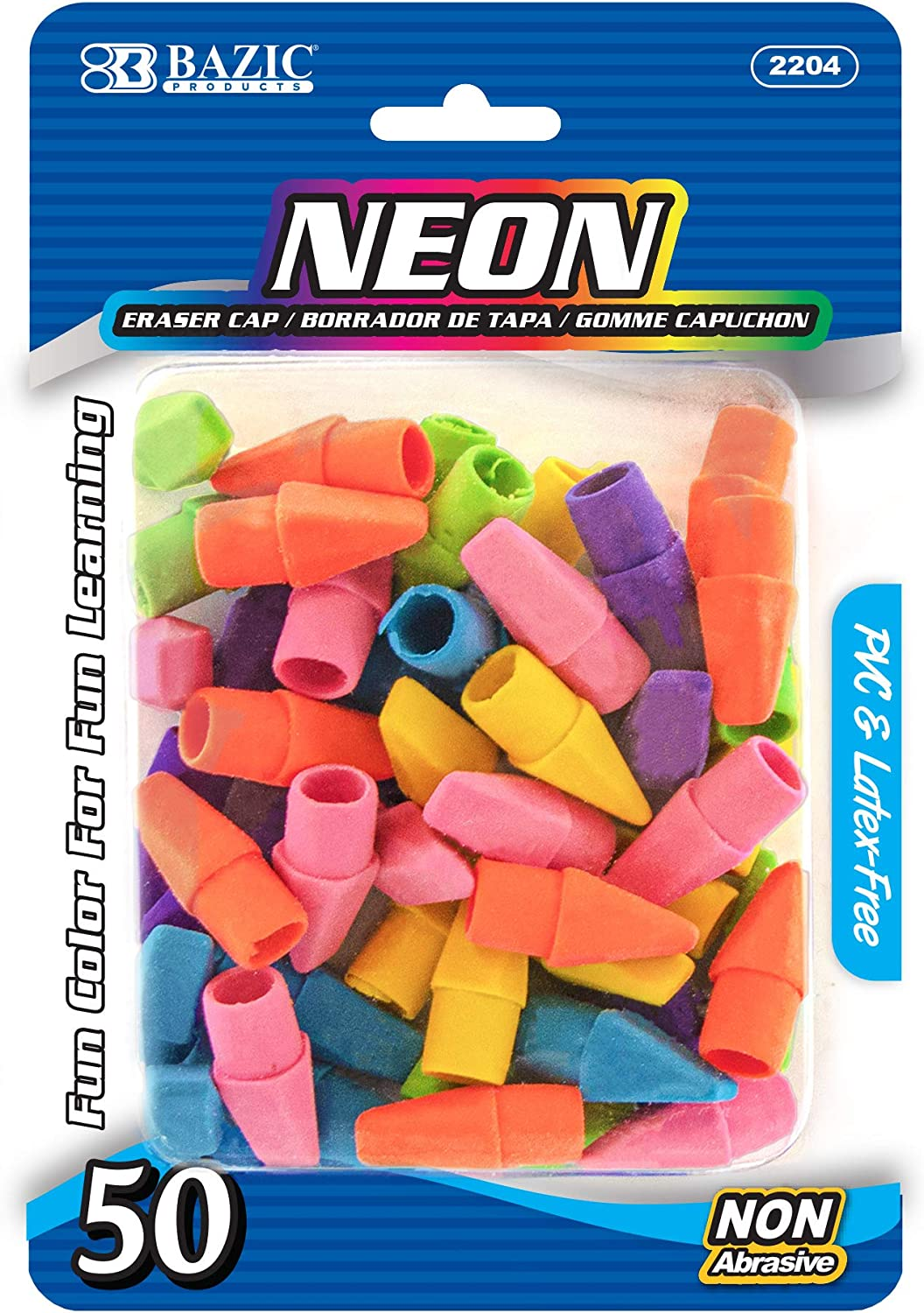 BAZIC Eraser New popularity safety Top Latex Free Pencil Pack Neon 50 Tops Erasers
