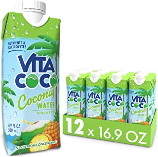Vita Coco Coconut Water, Pineapple - Naturally Hydrating Electrolyte Drink - Smart Alternative to Coffee, Soda, and Sports...