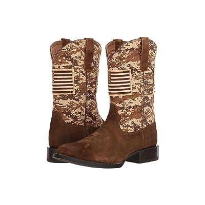 Ariat Sport Patriot Round Toe (Antique Mocha Washed Suede/Sand Camo Print) Cowboy Boots