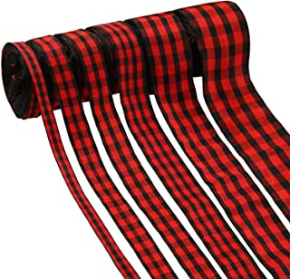 60 Yards Christmas Plaid Burlap Ribbon Christmas Gingham Wrapping Ribbon for Christmas Crafts Decoration Floral Bows Craft, 6 Sizes (Red, Black)