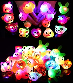 24 Pack LED Light Up Bumpy Rings Party Favors For Kids Prizes Box Toys For Birthday Classroom Rewards Treasure Box Prizes ...