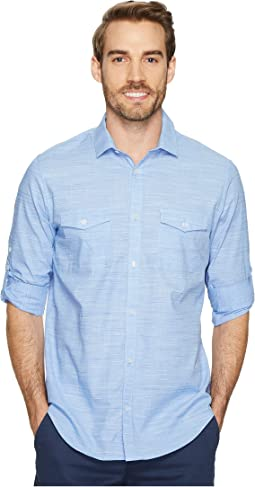 Calvin Klein - Space-Dye Roll-Up Button Down Shirt