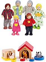 Hape Happy Family Dollhouse with Pet Set Award Winning Doll Family Set, Unique Accessory for Kid's Wooden Dolls House, Ima...