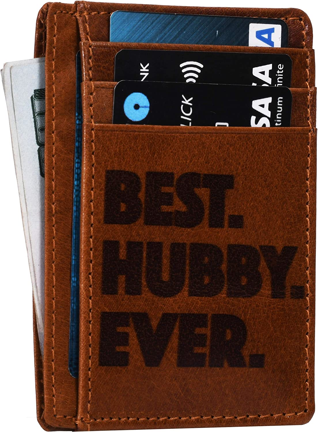 Engraved personalized Wife To Husband Father Mother Son Gift Best Anniversary Valentines Birthday Gifts Slim Wallet