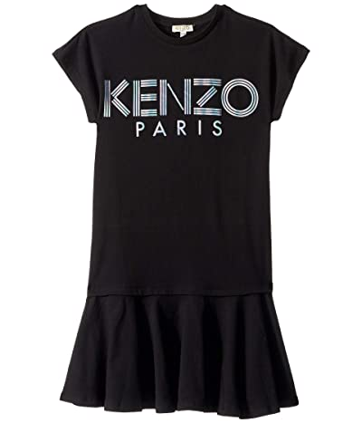 Kenzo Kids Short Sleeve Dress with Logo in Metallic Ink (Big Kids) (Black) Girl