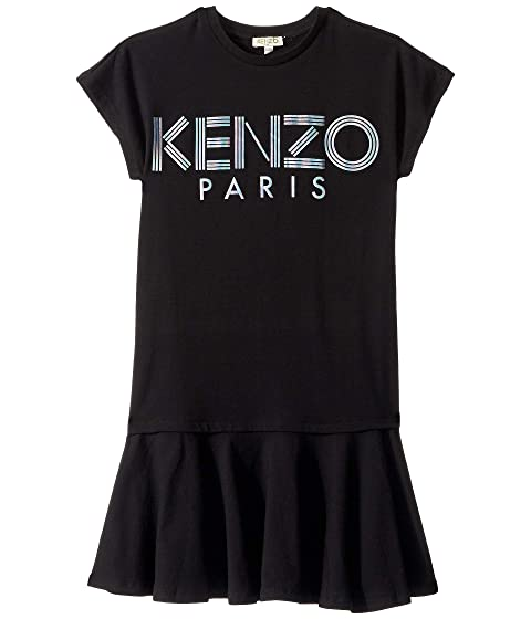 Kenzo Kids Short Sleeve Dress with Logo in Metallic Ink (Big Kids)
