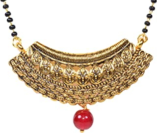 Frolics India Traditional Black Beads Mangalsutra Pendant with Short Black Beads Chain for Women - (Gold Plated)