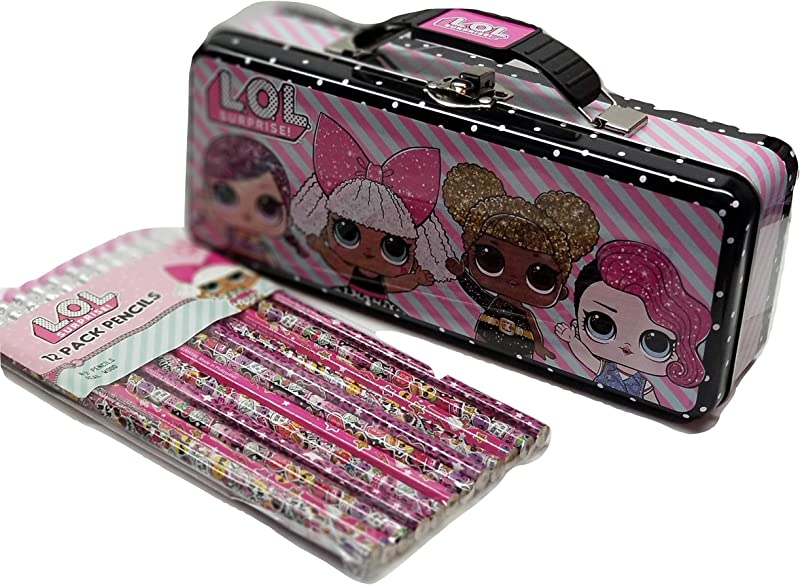 LOL Storage Tin With 12 LOL Design Pencils Set