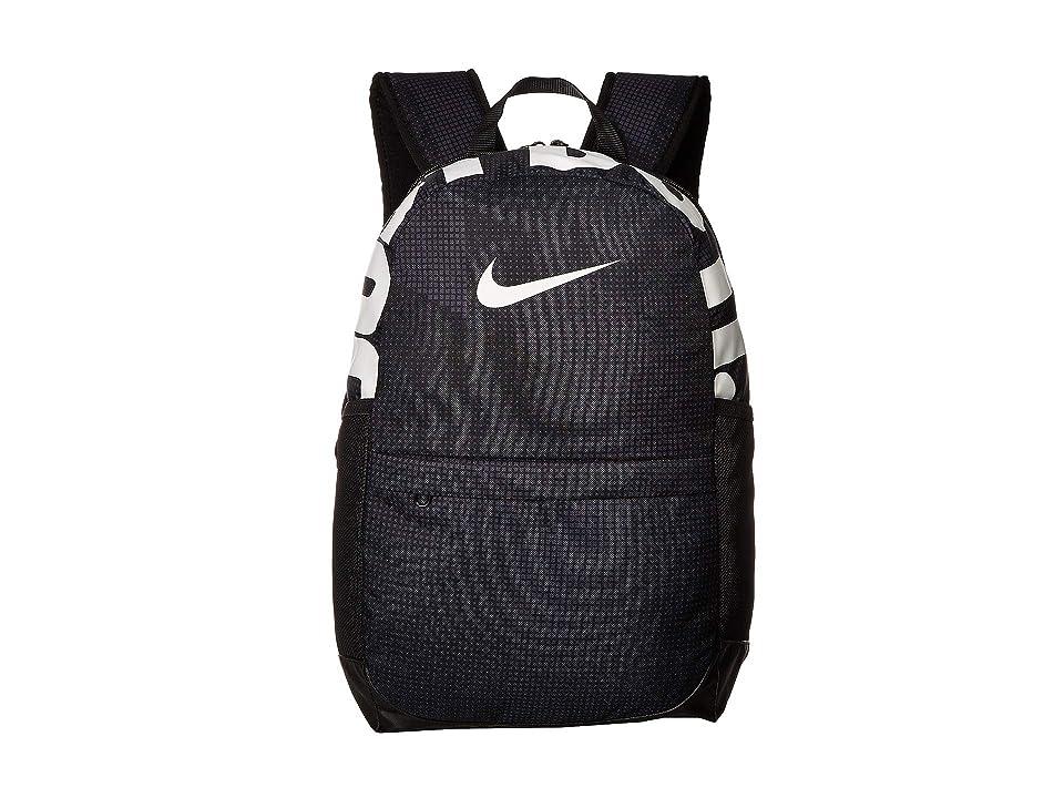 Nike Kids Brasilia Printed Backpack (Little Kids/Big Kids) (Black/Black/White) Backpack Bags