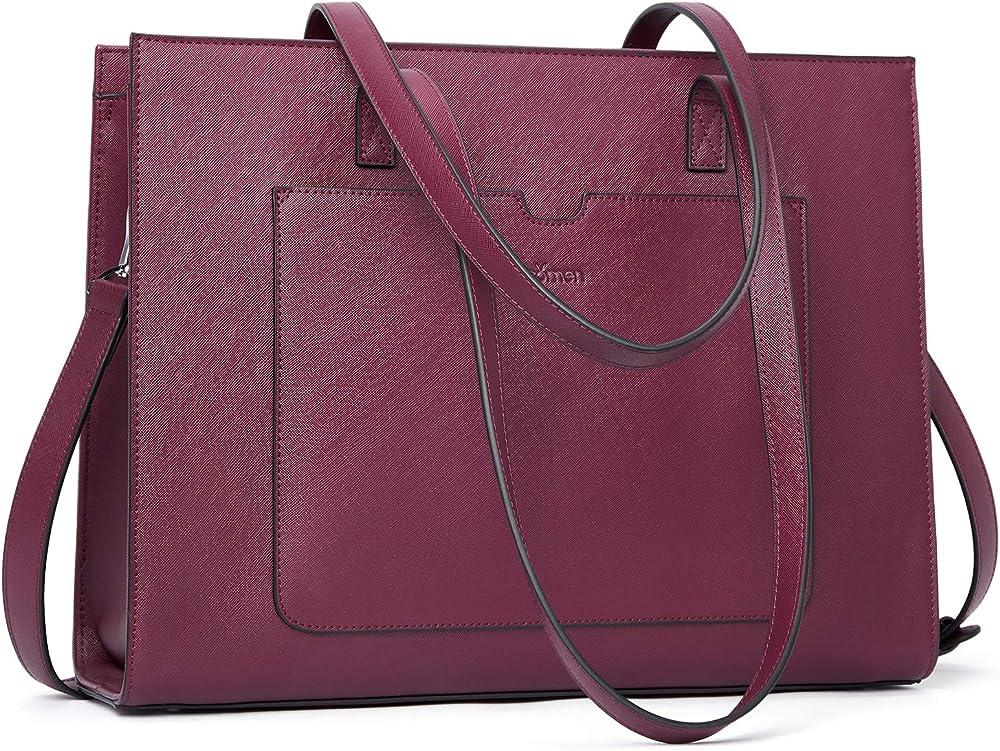 Bromen, elegante borsa/valigetta per donna, in vera pelle, fucsia