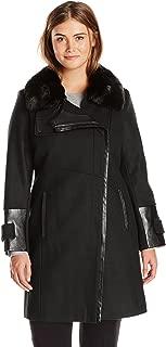 Women's Plus-Size Asymmetrical Zip Front Wool Coat with Faux Fur Collar