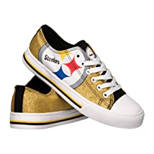 FOCO Women's NFL Low Top Glitter Canvas Sneakers Shoes