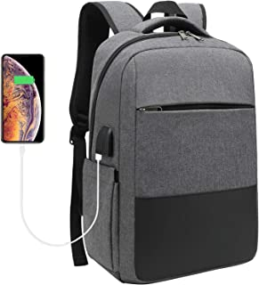 Laptop Backpack, Travel Computer Bag with USB Charging Port, Sunglass Bandage and Water Resistant,Fits Under 15.6 in Laptop Notebook, Slim Durable Laptop Bag for Business, College (Grey)