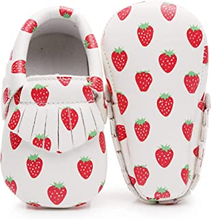 Bebila Avocado Vegan Baby Moccasins - Cartoon Baby Boys Girls Shoes with Soft Sole for First Walkers Toddler Strawberry