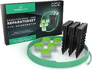 RASENWERK® set de reparación de cable perimetral para robots cortacésped - 15 piquetas con forma patentada - 5 conectores con relleno de gel estanco - Cable perimetral universal de 5 m