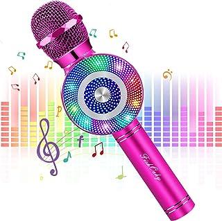 Micrófono Karaoke Bluetooth, FISHOAKY Microfono Inalámbrico Altavoces, Portátil Karaoke para Niños Cantar, Función de Eco,...
