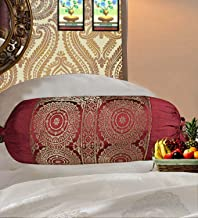 Real Online Seller Indian Polydupion Cylindrical Tube Pillow Bolster Pillow Covers Jacquard Brocade Border Large Couch Round Mandala Design Cylinder Cushion Covers (Set of 2)