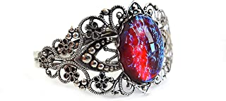 Little Gem Girl Mexican Opal Dragons Breath Cuff Bracelet Antique Silver Filigree Design Czech Glass Stone