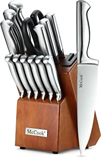 McCook MC29 Knife Sets,14 Pieces German High Carbon Stainless Steel Hollow Handle Self Sharpening Kitchen Knife Set with Hardwood Block