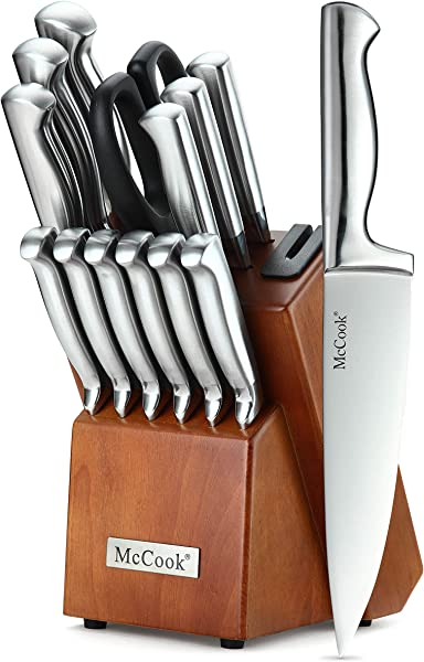 McCook MC29 Knife Sets 14 Pieces German High Carbon Stainless Steel Hollow Handle Self Sharpening Kitchen Knife Set With Hardwood Block