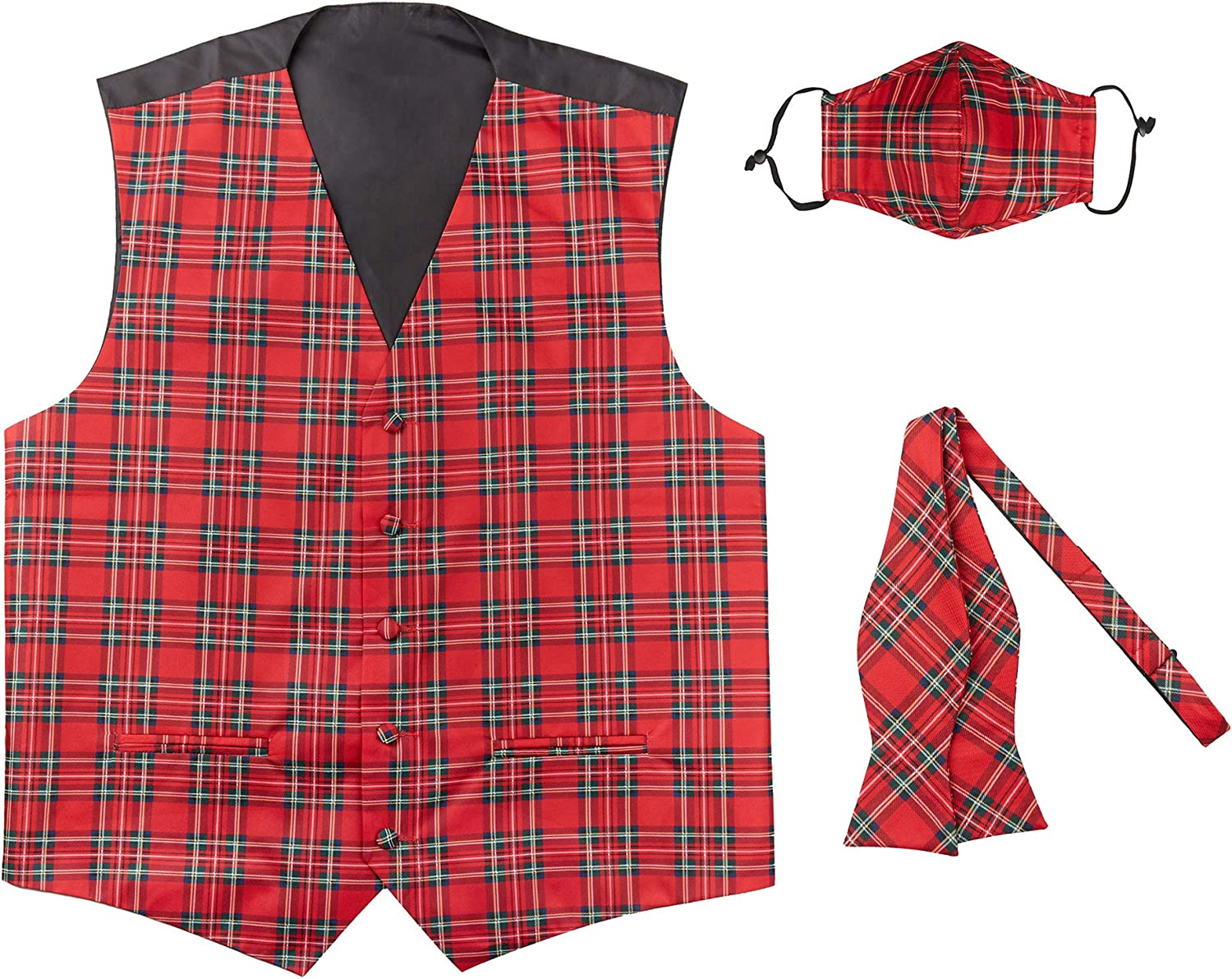 Jacob Alexander Red Christmas Plaid Self-Tie Max 42% OFF Tie Vest A surprise price is realized Bow Men's