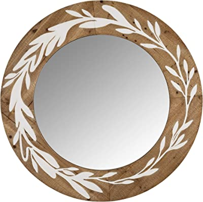 Stratton Home Decor S39190 Mirror, 31.50 X 1.25 X 31.50, Light Natural Wood