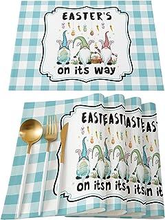 طقم مفارش Futuregrace Lovely Gnome Easter's في طريقه مقاوم للحرارة من 4 مفارش لطاولة الطعام، مفرش طاولة المطبخ غير قابل لل...