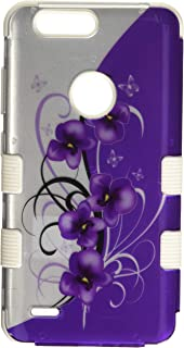 MyBat Mybat TUFF Hybrid Case - Cell Phone Case - (Twilight Petunias (2D Silver)/Solid White)