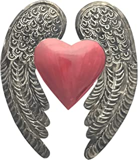 Madison Imports Milagro Sacred Heart Wings Milagro Ex Voto Tin Antique Silver Color. Beautiful embossed