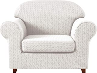 subrtex 2-Piece High Stretch Slipcovers Durable Soft Jacquard Fabric, Machine Washable Sofa Covers (Chair, Off-White Embossed)