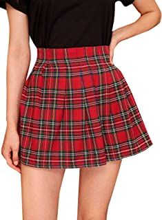 MAKEMECHIC Mini Falda Escocesa de Cintura Alta con Cierre en la Parte Trasera para Mujer