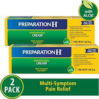 Preparation H Hemorrhoid Symptom Treatment Cream (2 X 1.8 Oz Tube), Maximum Strength Multi-Symptom Pain Relief With Aloe