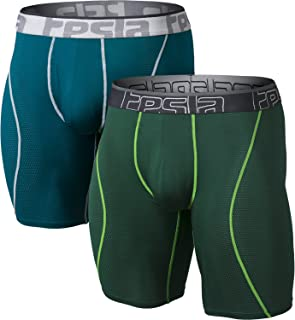 Men's Relaxed Stretch 9 inches Open-Fly Cool Dry Brief Mesh Underwear Trunk (Pack of 2)