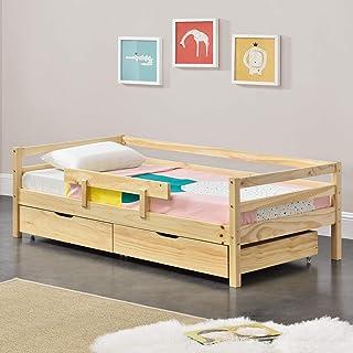 [en.casa] Lit d'enfant Design avec Barrière Anti-Chute et 2 Tiroirs Construction Solide Capacité de Charge Jusqu'à 50 kg B...