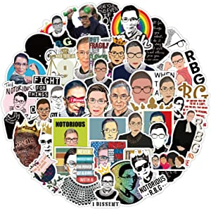 50Pcs Ruth Bader Ginsburgl Stickers Women Power Feminist Sticker for Laptop and Water Bottles,Waterproof Durable Trendy Vinyl Laptop Decal Pack for Teens, Water Bottles, Travel Case