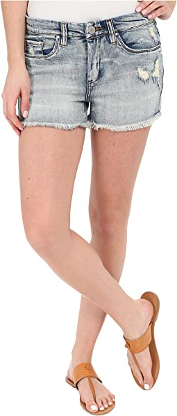 High Rise Denim Distressed Shorts