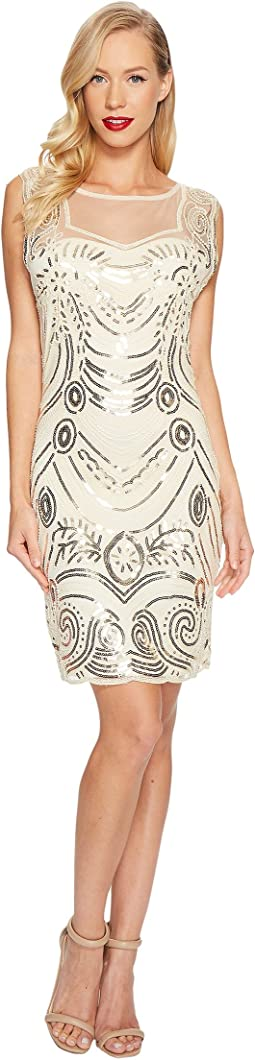 Beaded Deco Illusion Flapper Dress