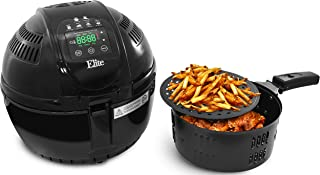 Elite Platinum 3.5 Quart Two-Tiered Electric Digital Air Fryer Cooker, 1400-Watts with 26 Full Color Recipes (Black) (Renewed)