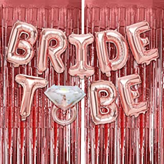 Party Propz Rose Gold Bride to Be Foil Balloon Decoration with Curtain Set 3Pcs for Bridal Shower Decorations Items/Bachel...
