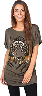 Krisp Women Oversized Casual Tshirt Baggy Tiger Flower Printed Batwing Tops