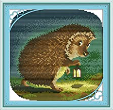 CaptainCrafts Hots Cross Stitch Kits Patterns Embroidery Kit - Nocturnal Hedgehog (STAMPED)
