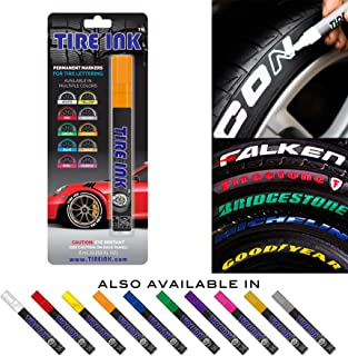 Tire Ink | Paint Pen for Car Tires | Permanent and Waterproof | Carwash Safe (1 Pen, Orange)