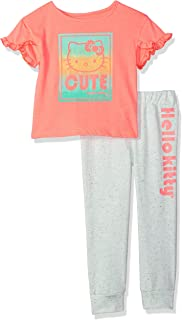 Hello Kitty 女童慢跑裤套装带时尚上衣