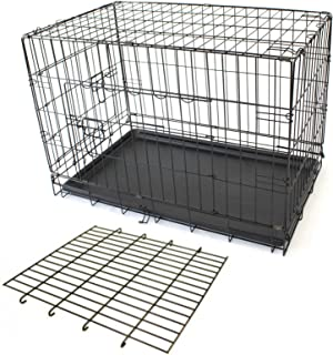 PETJOINT Pet Dog Crate + Divider | Metal Folding Cage Portable Kennel House Training Puppy Kitten Cat Rabbit with Removabl...