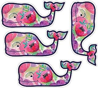 Vineyard Vines Colorful Flower Whale Stickers, Vinyl Decal - UV Protected & Waterproof, 2