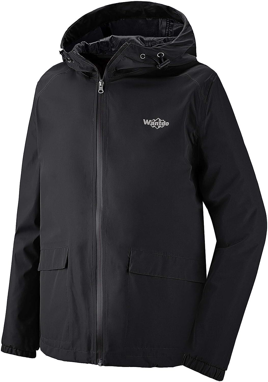 Wantdo Men's Waterproof Rain Jacket Lightweight Hooded Raincoat Breathable Windbreaker