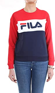 FILA Women's Leah Crew Sweatshirt, Multicolour (Black Iris/True Red/Bright White), Small