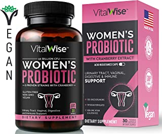 VitalWise Probiotics for Women, Made in USA, Vegan, Women's Probiotic for Digestive, Immune & Vaginal Health with D Mannose & Cranberry Extract, UTI & Vaginosis Relief, Yeast Control, 10 Billion CFU