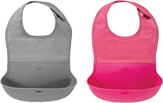 OXO Tot Waterproof Silicone Roll Up Bib with Comfort-Fit Fabric Neck, 2 Pack, Gray/Pink