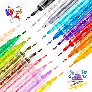 Acrylic Paint Marker Pens, Emooqi 18 Colors Premium Waterproof Permanent Paint Art Marker Pen Set for Rock Painting, DIY Craft Projects, Ceramic, Glass, Canvas, Mug, Metal, Wood, Easter Egg